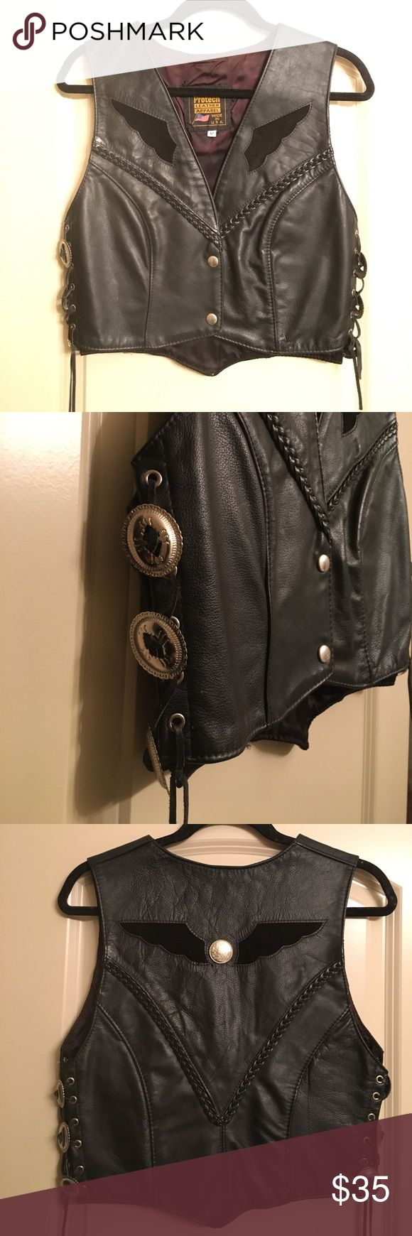 Southwestern Leather Vest Sexy black leather vest with concho detail laced up on sides. Excellent Condition. So sad it's too big for me! I'm a size 0 and it's not huge on me - could honestly fit M-L. Not Harley Davidson - labeled to attract views! # rock and roll # biker Harley-Davidson Jackets & Coats Vests