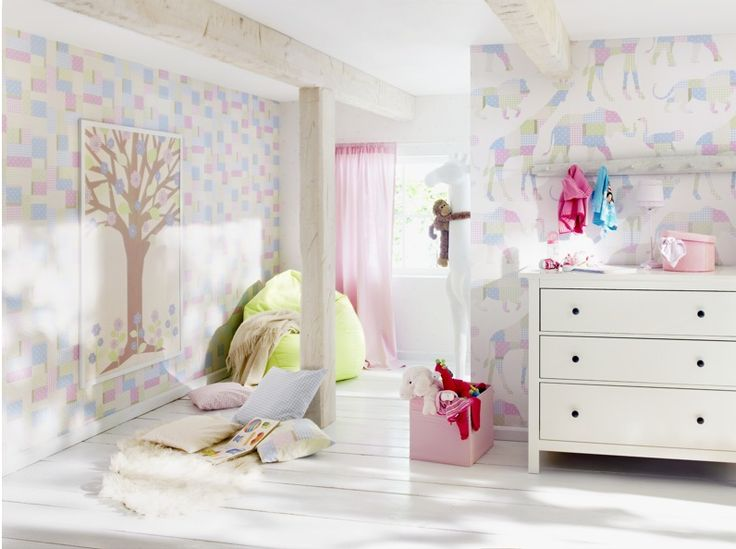 Gorgeous pastel animals, polka dots and more with eurowalls Bambino collection.