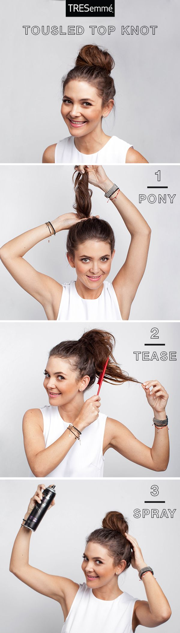 Perfectly imperfect, it doesn't get easier than a tousled top knot. Throw your hair up in a style that was made for 2nd day hair. Adriana of El Diario de la Moda shows us how: 1. Refresh Hair with TRES Fresh Start Dry Shampoo and pull hair back into a high ponytail.  2. Tease your ponytail with a fine-tooth comb to add texture and volume. 3. Wrap your ponytail around the hair tie and pin into a bun. Finish with TRES Youth Boost Hairspray for a light hold and protection from humidity.