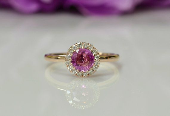 Sapphire Ring Pink Sapphire Rose Gold Ring Engagement Ring Anniversary Ring Birthstone Ring Promise Ring Bridal Ring Wedding Ring Engagement Rings Vintage Halo Pink Sapphire Bridal Rings