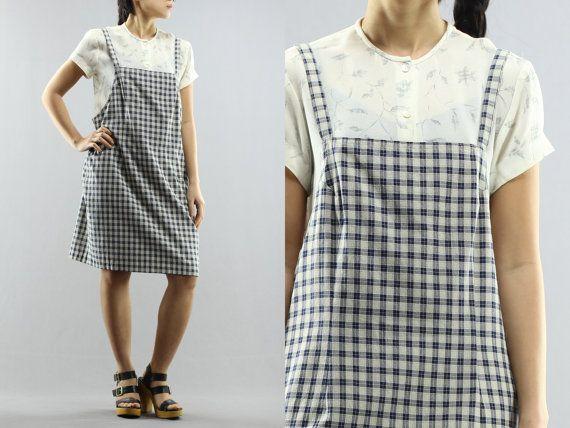 Pinafore plaid Suspender Midi robe pull surdimensionné de tablier globale robe chez 90 ' s Vintage Karen Kane Lifestyle Petites taille 12 féminines