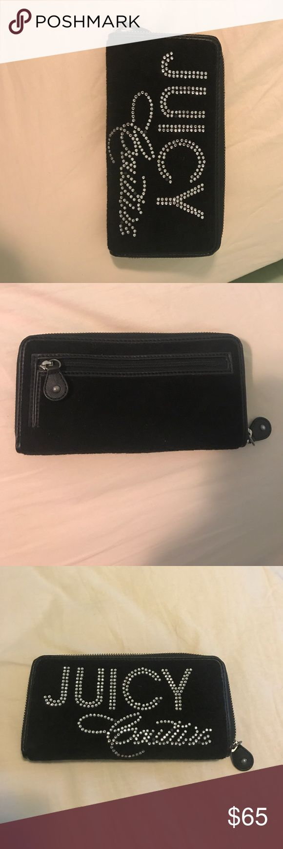 Juicy Couture Wallet Black Juicy Couture wallet. Almost new condition. Zipper closure that goes around entire wallet. Opens up with many sections inside. Two places to store credit cards, zipper enclosure for loose change, two spots to keep cash.. Juicy Couture Bags Wallets