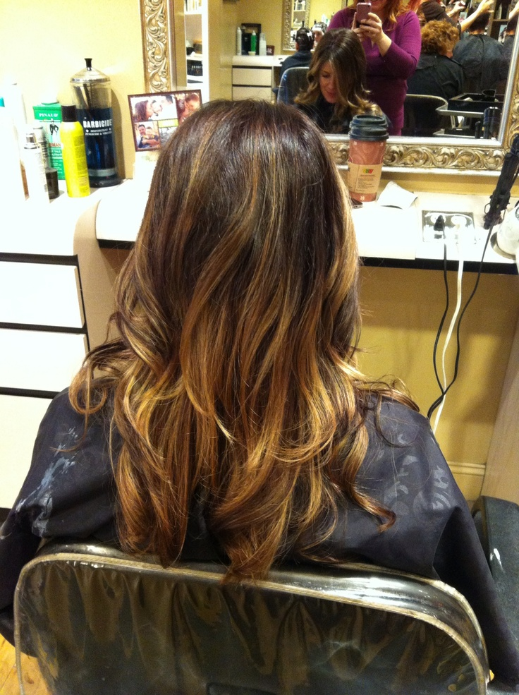 Ombre Color Chocolate Brown Base With Peanut Butter Ombre