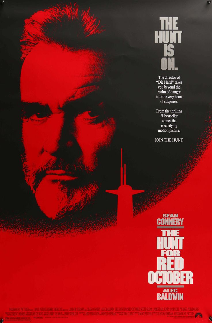 """Film: The Hunt for Red October (1990) Year poster printed: 1990 Country: United States Size: 27"""" x 40"""" """"The Hunt is on..."""" This is a vintage, rolled, movie poster from 1990 for The Hunt for Red Octobe"""