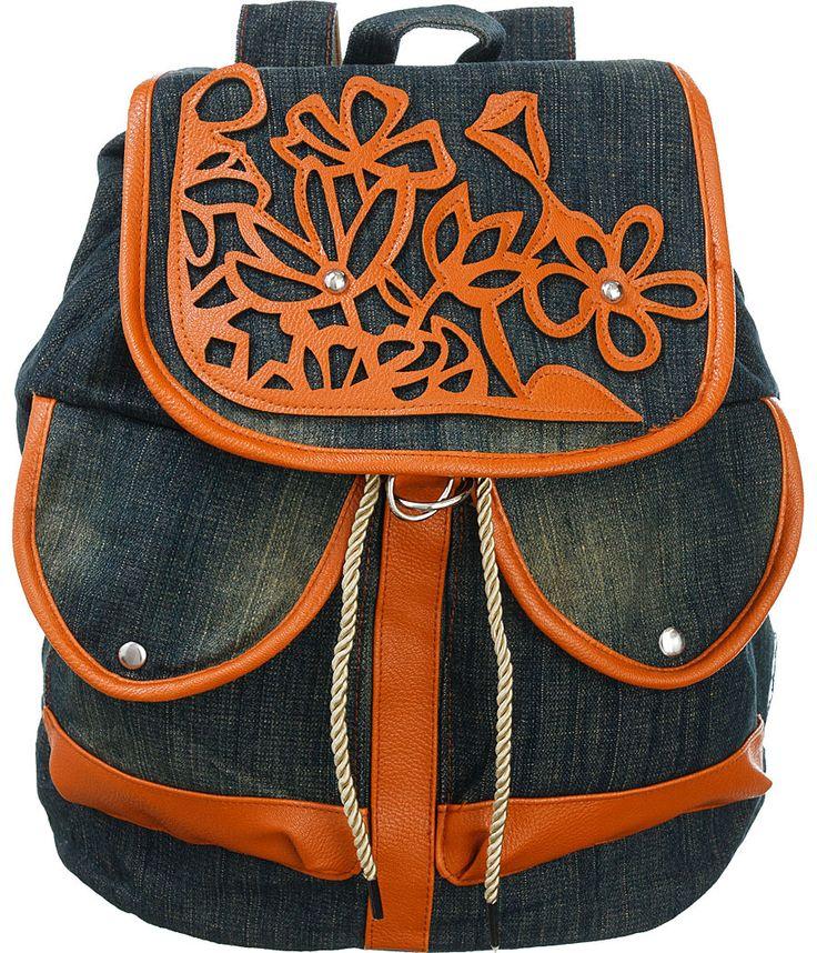 "Purse Boutique: Jeans-Blue Faded-Wash ""Floral Stencil"" Backpack, Purses"