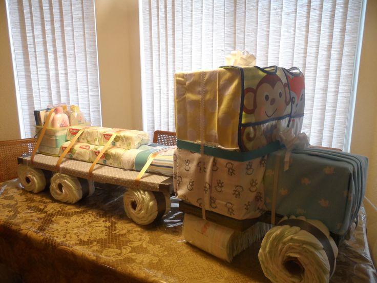 Semi Truck Diaper Cake Consist Of Diapers Baby Wipes