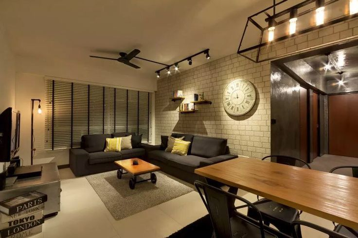 Bto living interior design industrial modern for Living room ideas hdb