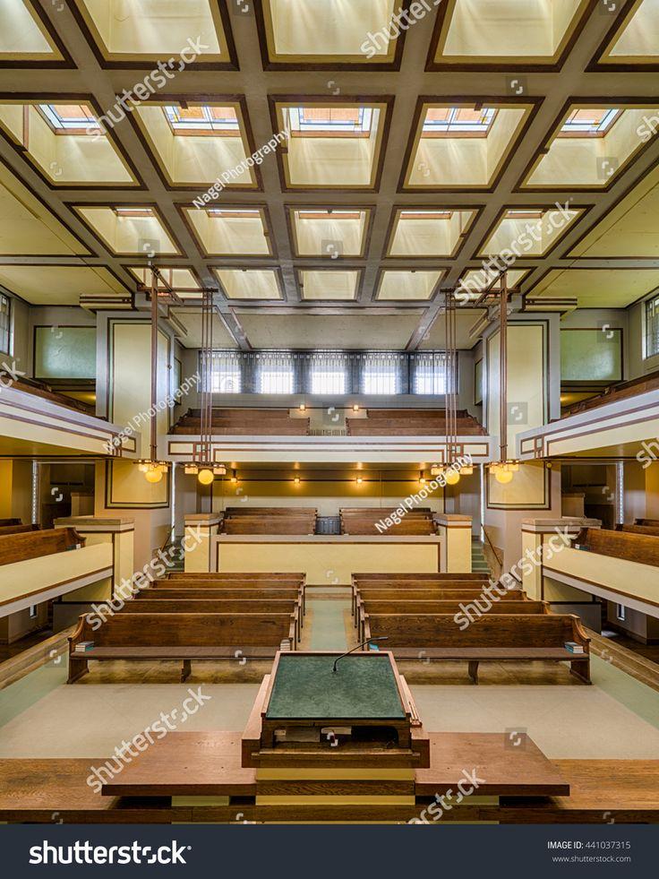 OAK PARK, ILLINOIS - JUNE 15, 2016: Interior of the Unity Temple designed by Frank Lloyd Wright on June 15, 2016 in Oak Park, Illinois
