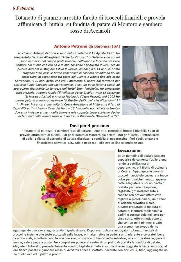 """La Ricetta del 06/02 da Ricette 3.0 di spaghettitaliani.com - Totanetto di paranza arrostito farcito di broccoli friarielli e provola affumicata di bufala, su fonduta di patate di Montoro e gambero rosso di Acciaroli ( Secondi - Crostacei, molluschi ) inserita da Antonio Petrone - La ricetta si trova anche nel Libro """"Una Ricetta al Giorno... ...leva il medico di torno"""" prodotto dall'Associazione Spaghettitaliani, per acquistarlo: http://www.spaghettitaliani.com/Ricette2013/PrenotaLibro.php"""