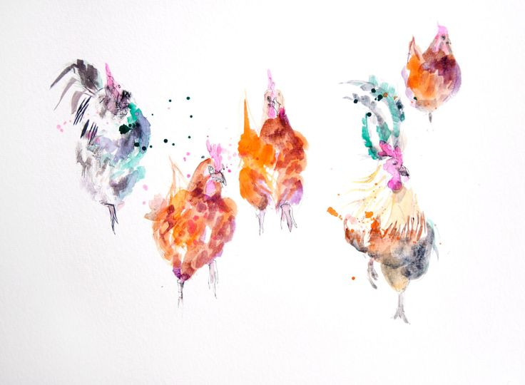 Contemporary LIMITED edition print of my original watercolour Chickens  Printed using epson Chroma K3 pigments on archival 315 gsm paper. by JenBuckleyArt on Etsy https://www.etsy.com/uk/listing/247064286/contemporary-limited-edition-print-of-my