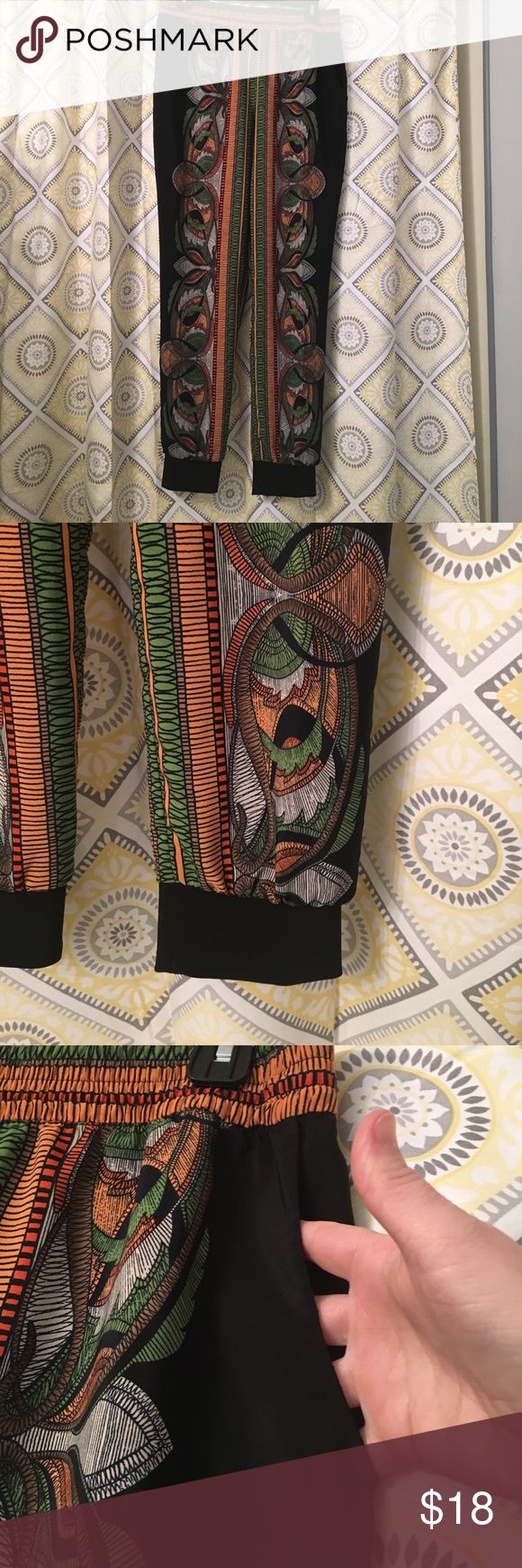 Tribal Patterned Dressy Jogger Pants Gorgeous patterned jogger style pants.  Silky material, pockets & comfortable waistband.  Can be dressed up or down. Only worn twice. Forever 21 Pants Trousers