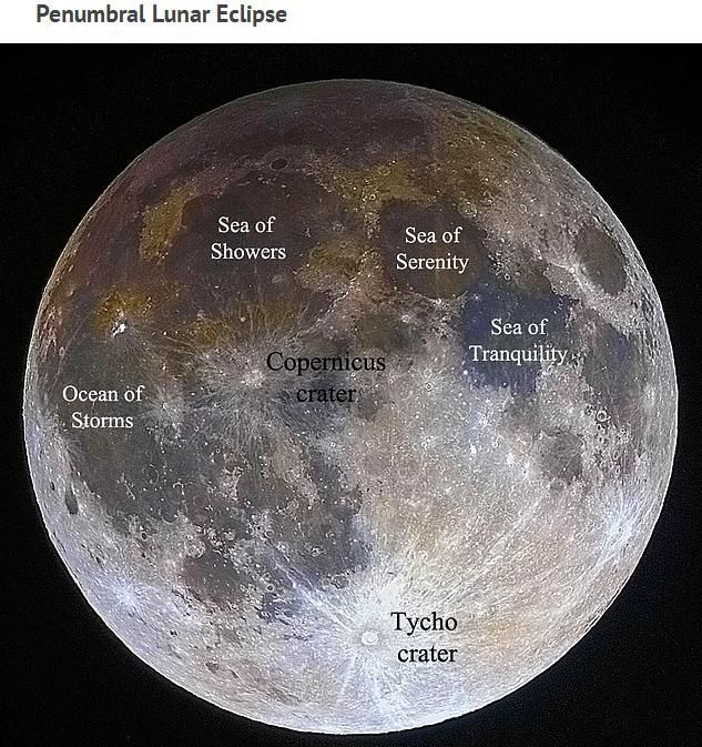 Although shown in spectacular detail, the full face of Earth's most familiar satellite appears slightly darker than usual, in particular on the upper left, because it is undergoing a penumbral lunar eclipse.