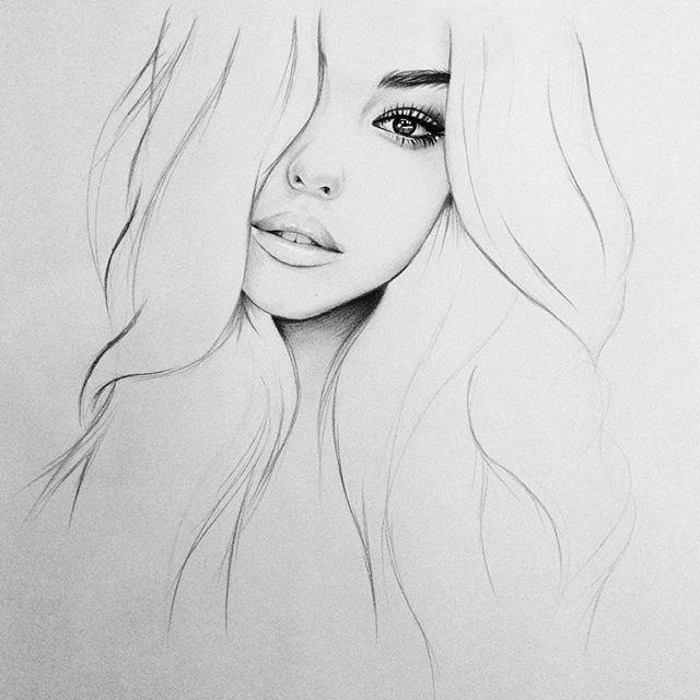 Красивые картинки девушек карандашом легкие