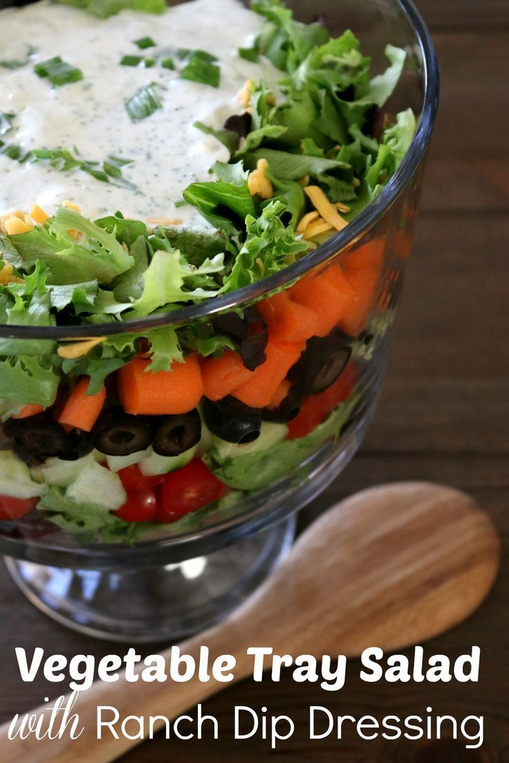 Vegetable Tray Salad with Ranch Dip Dressing | All Things Healthy ...