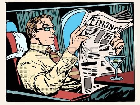 деловые поездки: Бизнес-класс самолета бизнесмен чтение газеты и выпить коктейль поп-арт стиле ретро. Путешествия и деловые поездки. Транспорт и самолеты. Новости и финансовые консультации