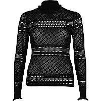 Black pointelle knit ruffle trim jumper - knitted tops - knitwear - women