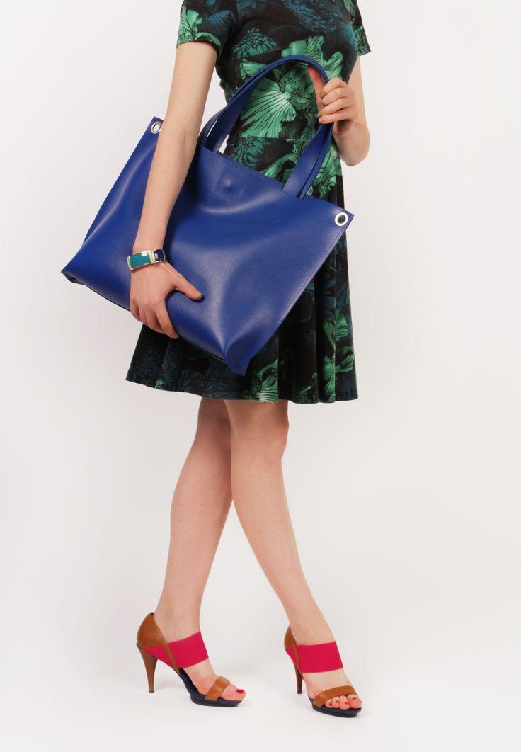 "Blue Leather Crossbody Tote Bag ""Michelle Indigo"", Oversized Shopping Bag, Handmade Tote, Women Laptop Bag"