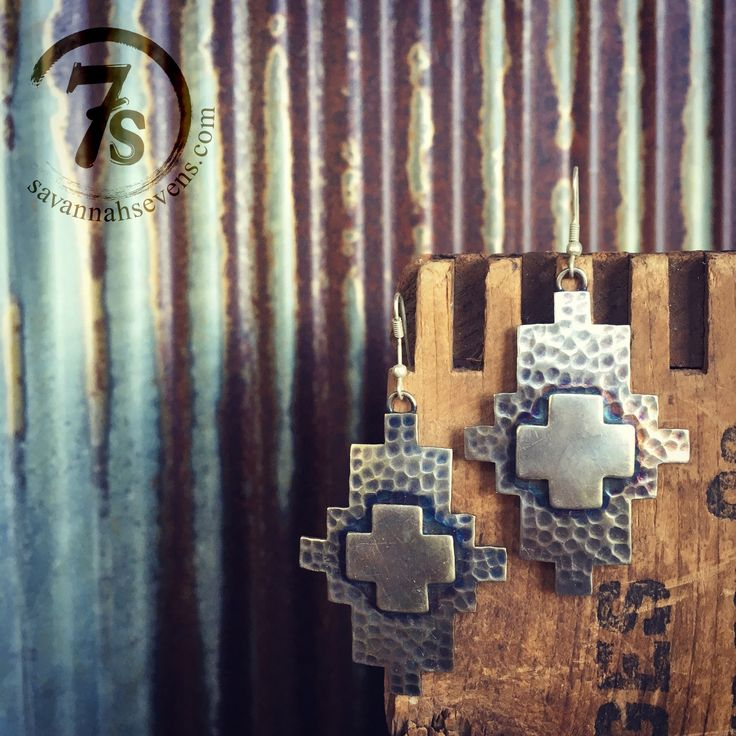 "- Rustic southwest silver earrings - Southwestern cut with raised center - Antiqued finish - 2.75"" from top of hook - Gorgeous addition to any western jewelry collection   Awesome point of view"