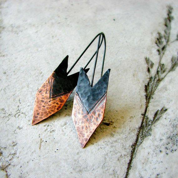 Arrow earrings hammered copper earrings twotone by noblegnome, $28.00