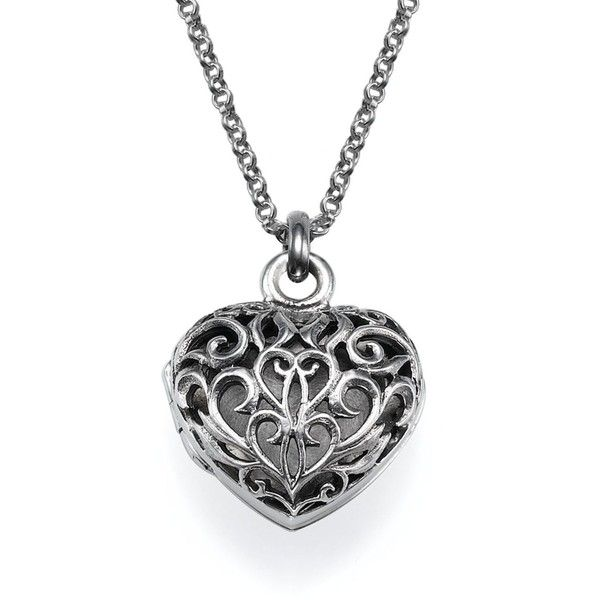 My Only One Filigree Heart Locket Necklace (£52) ❤ liked on Polyvore featuring jewelry, necklaces, grey, heart shaped locket, womens jewellery, locket, chain necklace and sterling silver necklaces