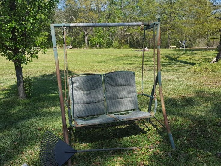 I took a 2 person old swing and gave it a make over.  I removed the old cloth seat with heavy duty utility knife, an Allen wrenches and wrench. You may have to…