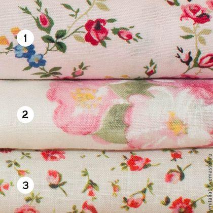 Итальянский лен БУКЕТЫ РОЗ MONNALISA - ткань для шитья,ткань для одежды