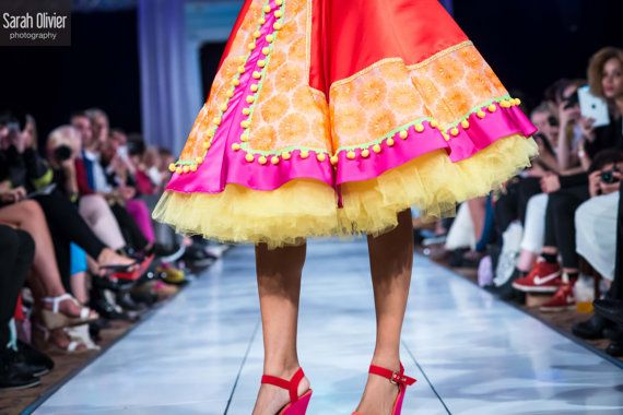 Frida Full Circle Skirt Red Orange and Pink with by LOMstore