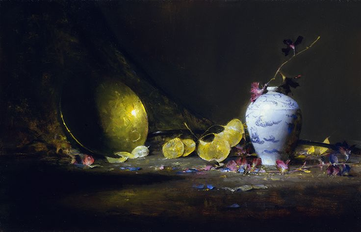 David Leffel, The Ladle and the Vase (Small World), oil on canvas, 9 x 14 inches,