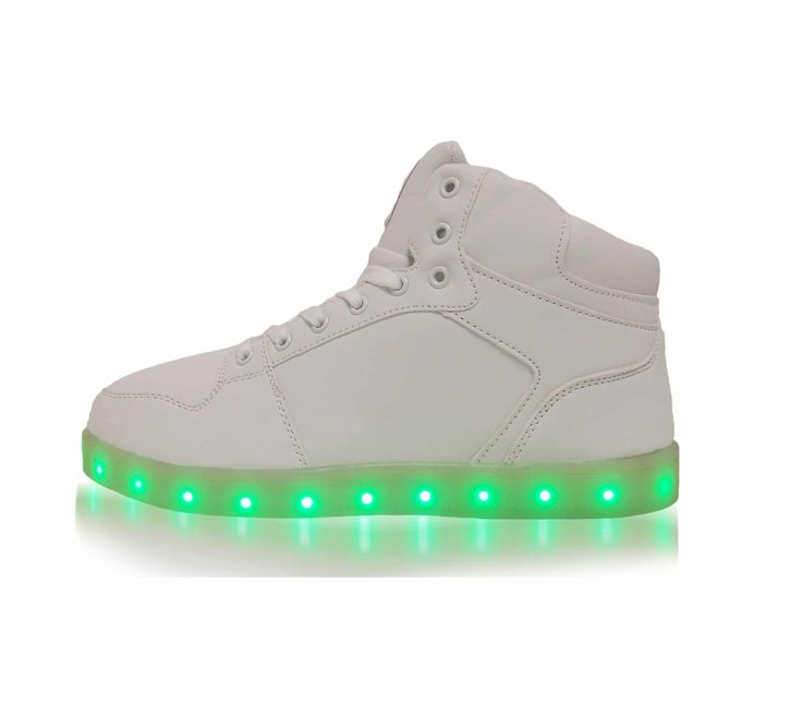 Women's White Nubuck Leather Light Up Shoes - Multiple LED Colors