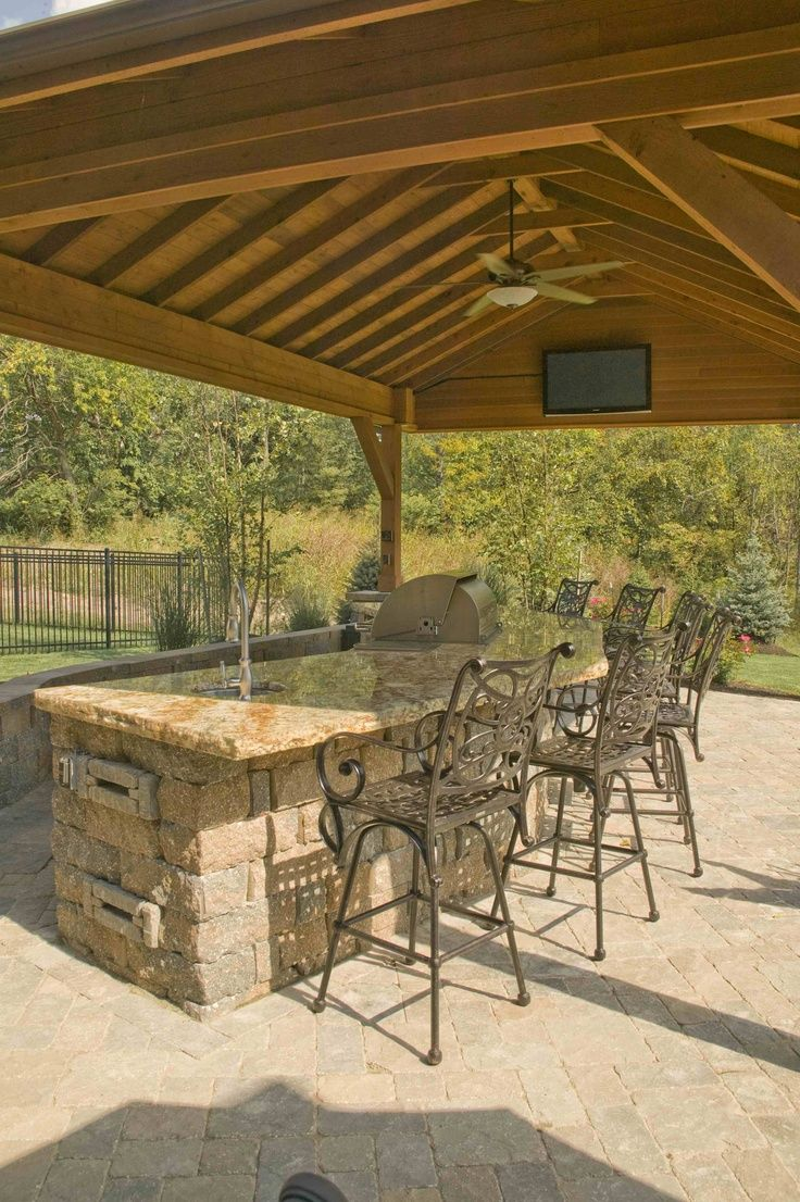 Outdoor Slate Built In Bar Covered Outdoor Bar With