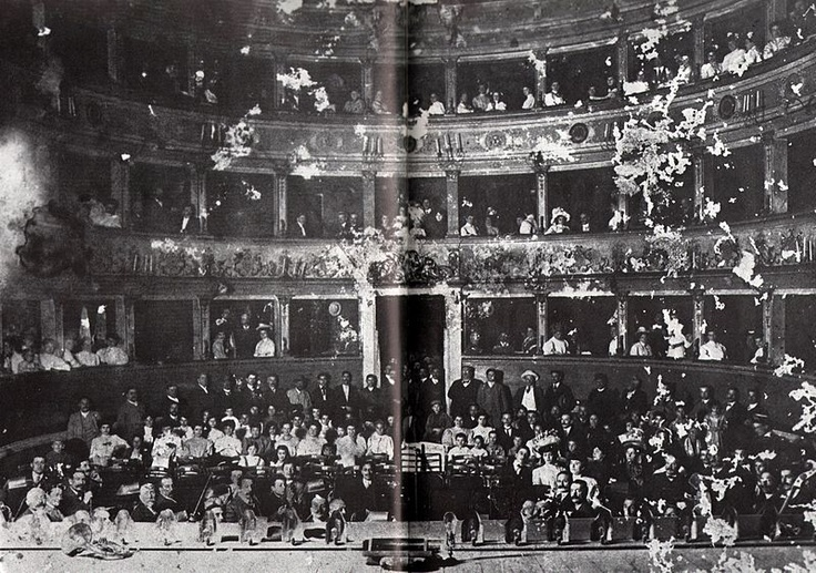 """Interiors of the 1968-demolished Royal Theatre Bendetto Varchi in Montevarchi"". Vestri Family."