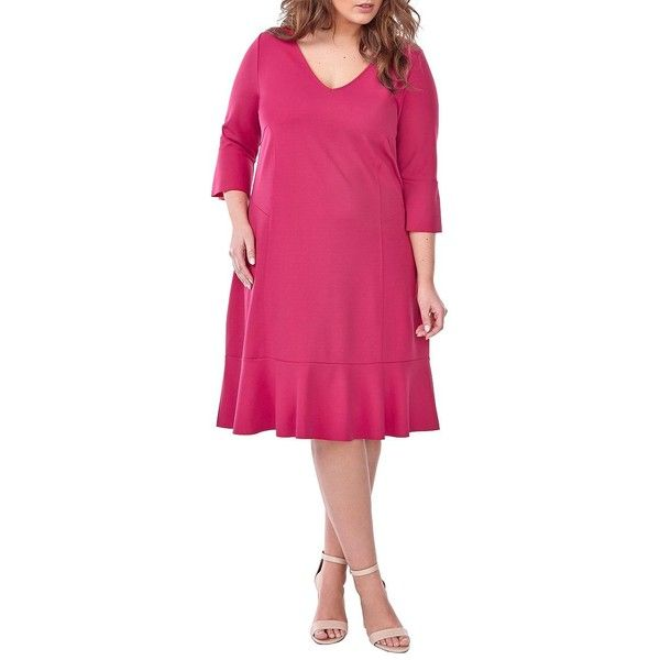 Addition Elle Michel Studio Women's Solid V-Neck Dress ($25) ❤ liked on Polyvore featuring plus size women's fashion, plus size clothing, plus size dresses, red, 3/4 sleeve dresses, 3 4 sleeve shift dress, red dress, red v neck dress and embellished shift dress