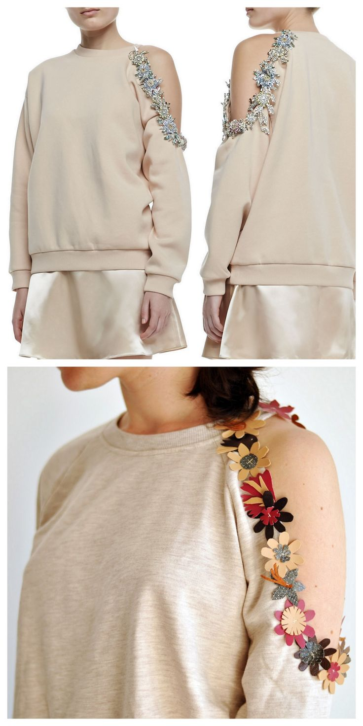 DIY Christopher Kane Inspired Cutout Shoulder Sweatshirt Tutorial from EmerJa. Restyle your sweatshirt by adding an asymmetrical shoulder cutout embellished with leather or pleather flowers. Top Photo: $3,215 Christopher Kane Cutaway Bejeweled...