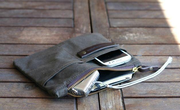 Waxed canvas pouch - waxed cotton bag - purse