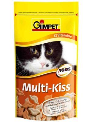 Multi Kiss to wyjątkowy przysmak dla kotów w kształcie ust. Zawiera on dodatek błonnika w diecie, który pozytywnie wpływa na skórę oraz okrywę włosową. Zapewnia witalność, wspomaga prawidłowy rozwój oraz poprawia samopoczucie. Karma uzupełnia codzienną dietę. Zaleca się podawanie kotom od 2 do 4 sztuk dziennie.