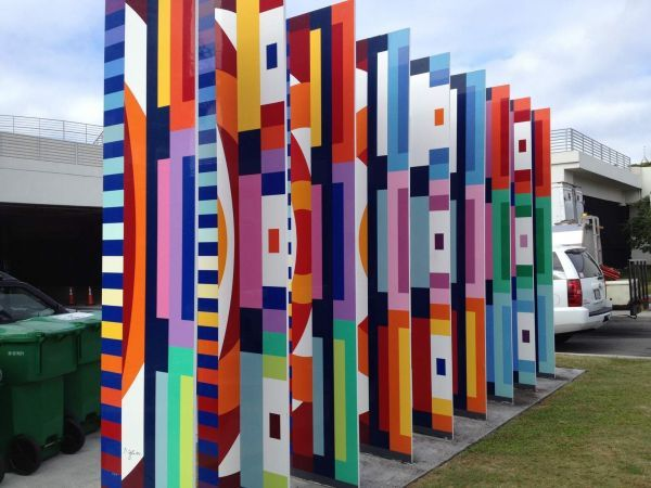 Visual Welcome Large Sculpture By Yaacov Agam size 41x33 large aluminum metal sculpture original art painting created in 1995.
