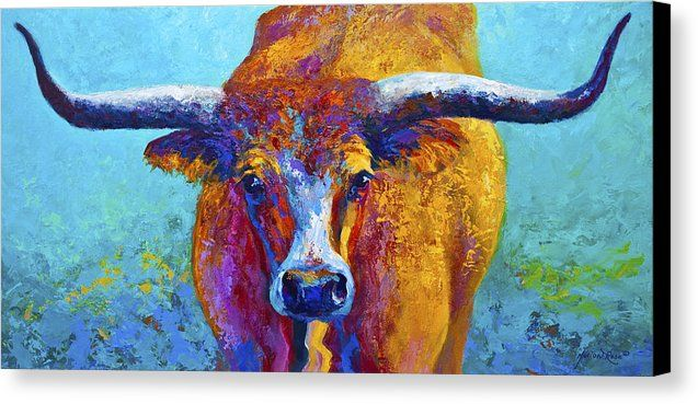 Western Paintings Canvas Print featuring the painting Widespread - Texas Longhorn by Marion Rose