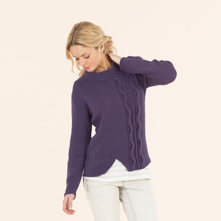 The modern cabled sweater knitted in Sublime extra fine merino wool dk