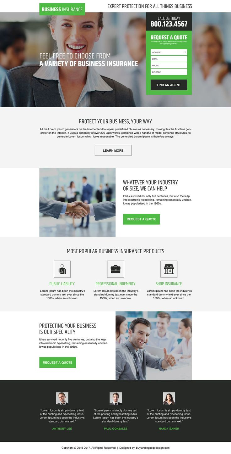 business insurance free quote responsive landing page design