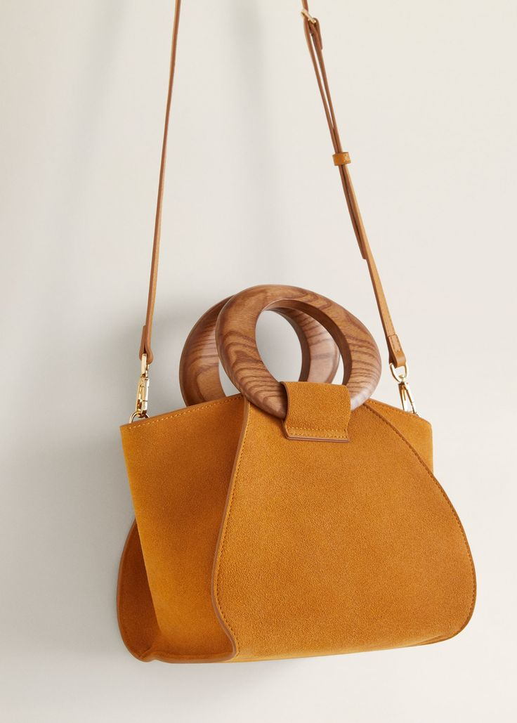 Wooden handle leather bag – Women