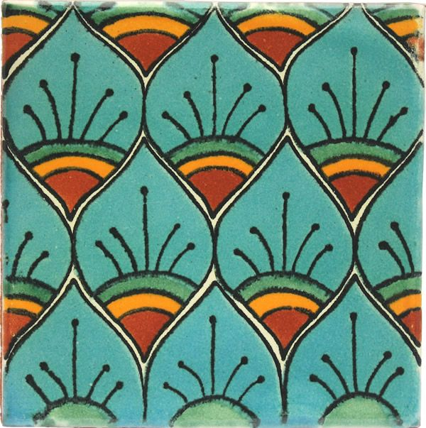 Mexican Tile - Turquoise Peacock Feathers Mexican Tile