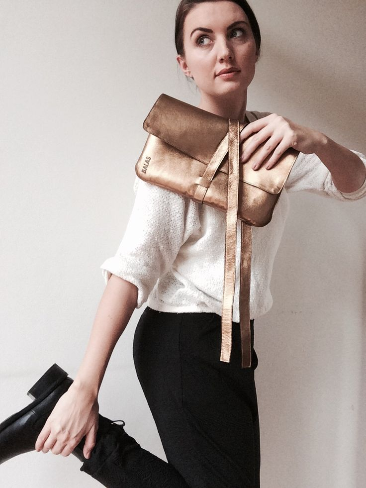 BALAS leather golden clutch. Handcrafted in Czech Republic. Limited edition.