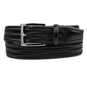 Cintura marrone intrecciata elastica in pelle