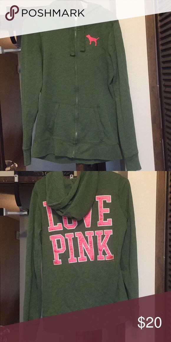Victoria's Secret Pink Sweatshirt Green and neon pink, slouchy style zip up PINK Victoria's Secret Tops Sweatshirts & Hoodies