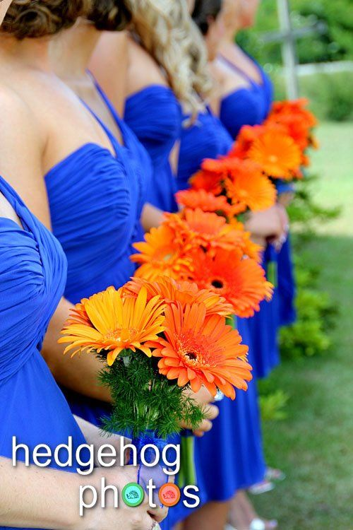 Royal blue is first on the list for attendants - this color would look outstanding with sunflowers, daisies, hot pink peonies, roses, magnolia leaves ...hmmm....Attendants | Wedding Flowers from the House of Flowers, Valley, Alabama