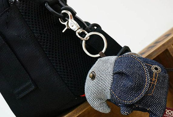 Cute keychain key chain key fob key ring with big blue elephant animal Jeans gift for her