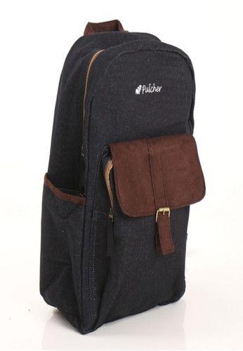 Pulcher Wezen - Tas Denim Backpack Unisex - Hitam + Gratis Raincover