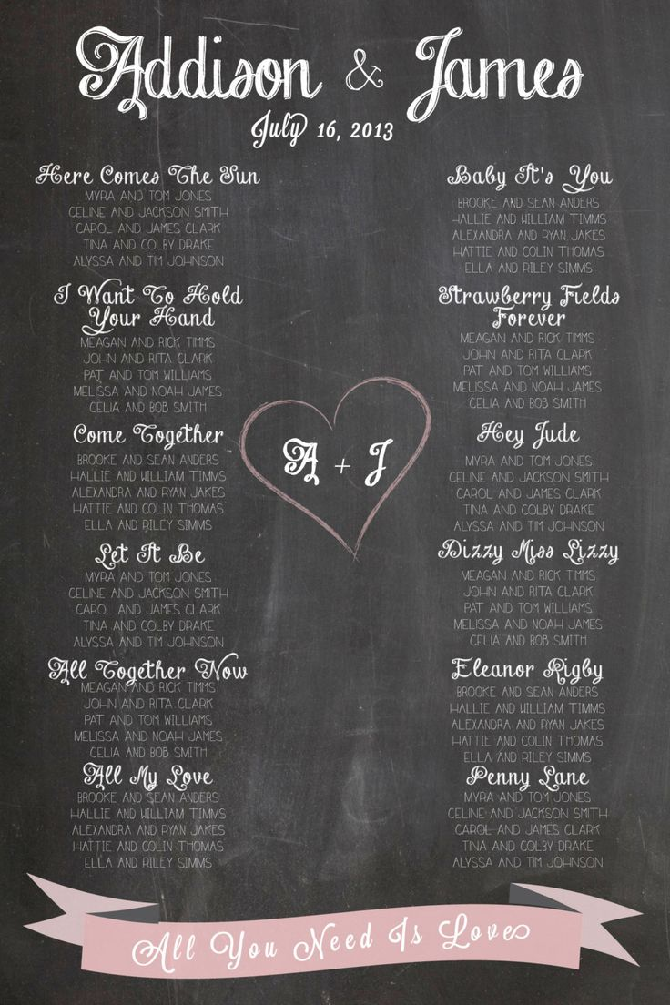 Chalkboard Wedding Seating Chart- http://www.toptableplanner.com/blog/swinging-60s-wedding-table-plan $75.00, via Etsy.