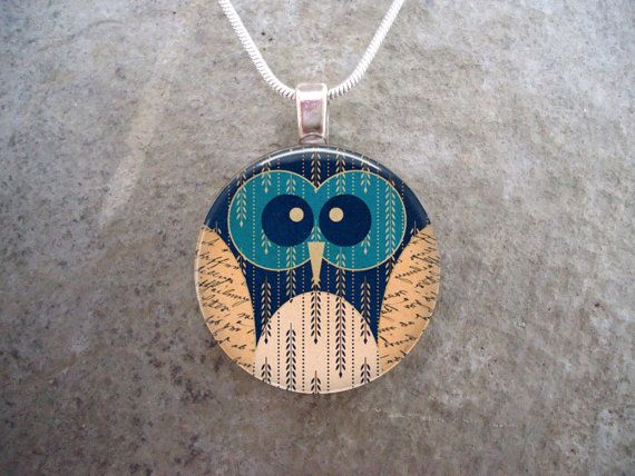 PRE ORDER Owl Jewelry  Folk Art Style  Glass by SolasJewelry