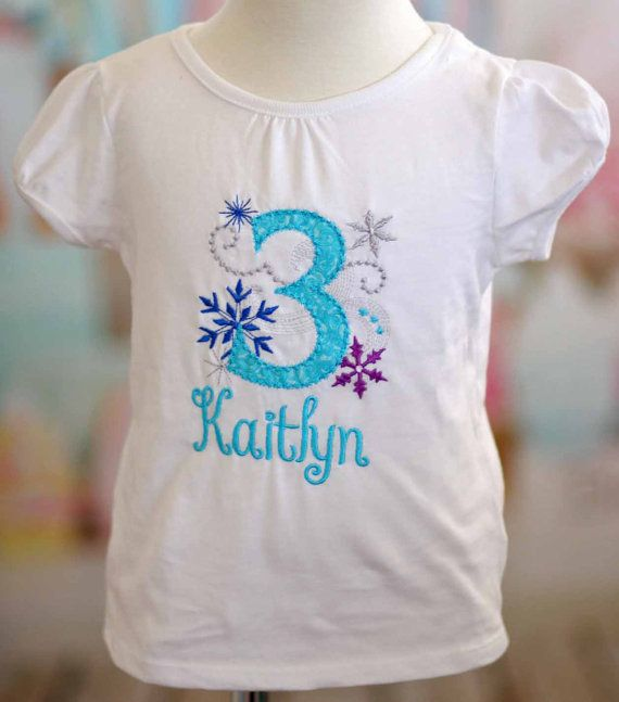 Gorgeous Frozen Inspired Birthday Initial Number Embroidered Applique Shirt Tee Elsa Blue Snowflake Onederland Party Sparkle